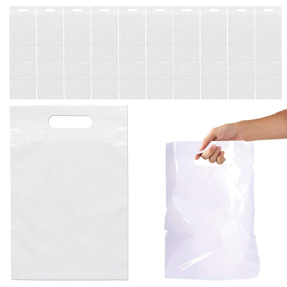 Kicko 8.75 x 12 Inch Small Glossy White Plastic Bags with Die-Cut Handles – 50 Pieces, Retail, Merchandise, Donation, Containers, Takeout Food, Shopping, Party, Mailing Bags, Gift Shop