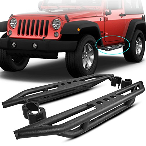 AUTOSAVER88 Running Boards Compatible for 2007-2018 Jeep Wrangler JK 2 Door Side Steps Nerf Bars Side Guard Step Boards Black, Powder Coating Finishing(Excl 2018 JL Models)