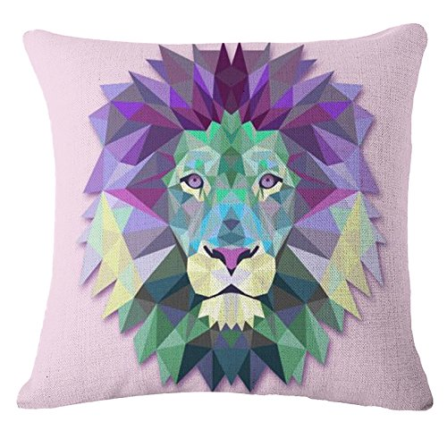 Throw Pillow Cover Decorative Durable Cushion Cover 18 x 18 Pillow Case Abstract Vivid Lion Head Geometric Triangle Diamond Hidden Zipper Home Decor Spring Summer Sofa Couch Bedroom Living Room
