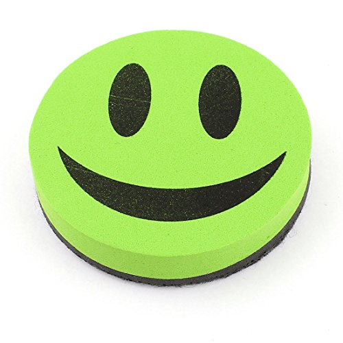 Uxcell Magnetic Smile Face Design Whiteboard Eraser/Cleaner, Green/Black