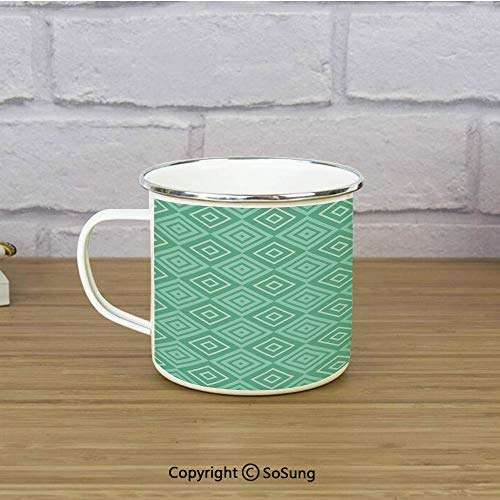 Mint Enamel Camping Mug Travel Cup,Vertical Nested Squares Diamond Line Pattern Geometrical Classy Print Decorative,11 oz Practical Cup for Kitchen, Campfire, Home, TravelWhite Almond Green Mint ()