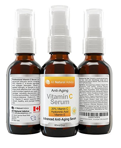 (20% Vitamin C Serum Double the size - 2oz Bottle - Made in Canada All Natural 20% Vitamin C + Hyaluronic Acid + Vitamin E-Reverse Skin Aging & Wrinkles and look younger Certified Organic Scent Free Excellent for Sensitive Skin! 100% Guaranteed)