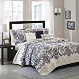 Madison Park Cali 6 Piece Quilted Coverlet Set, King/California King, Blue