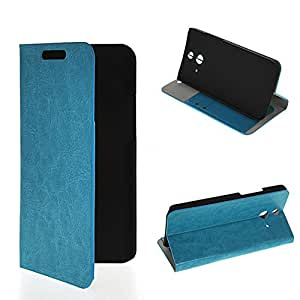 NETCHER color negro y función de piel con suave con bolsillo para tarjeta de piel y función atril y rotación de con tapa para HTC de un solo E8, piel sintética, azul, HTC One E8