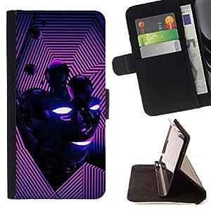Momo Phone Case / Flip Funda de Cuero Case Cover - Cara abstracta rosada púrpura - LG G4