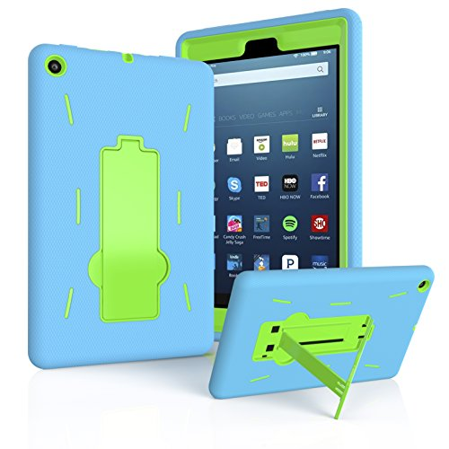 EpicGadget Case for Fire HD 8 (8th and 7th Generation, 2018 and 2017 Release) Amazon Fire HD 8 Heavy Duty Hybrid Case Cover with Kickstand for Fire HD 8 and 1 Fire 8 HD Screen Protector (Blue/Green)