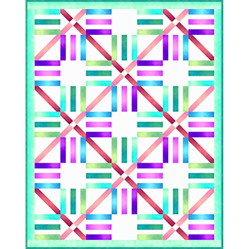 Wilmington Prints Ombre Washart Essential Cool Parquet Quilt Kit 53 by 67 inches