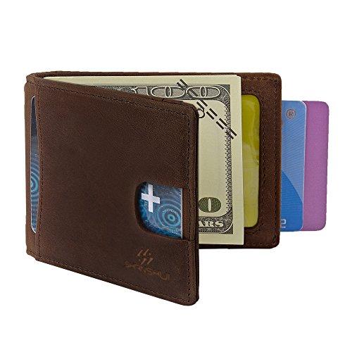 SHANSHUI RFID Blocking Bifold Slim Genuine Leather Money Clip Thin Minimalist Front Pocket Wallets for Men (Dark Brown)