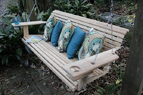 5 Foot Handmade Cypress Porch Swing with Cupholders ()