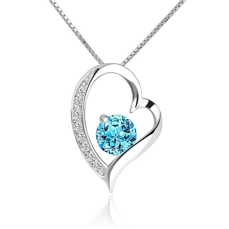 775cda53e861 Uniqueen plata de ley Circonita Love Corazón Colgante Collar De bajo costo