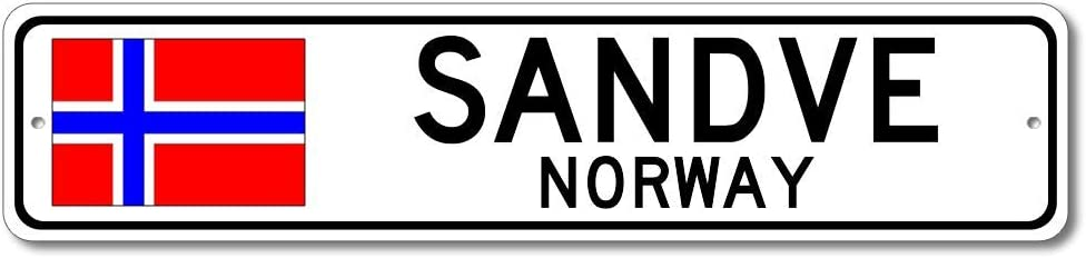 Sandve, Norway - Norwegian Flag Street Sign - Metal Novelty Sign for Home Decoration, Personalized Gift Sign, Man Cave Sign, Street Sign, Norway City Sign, Made in USA - 4x18 inches