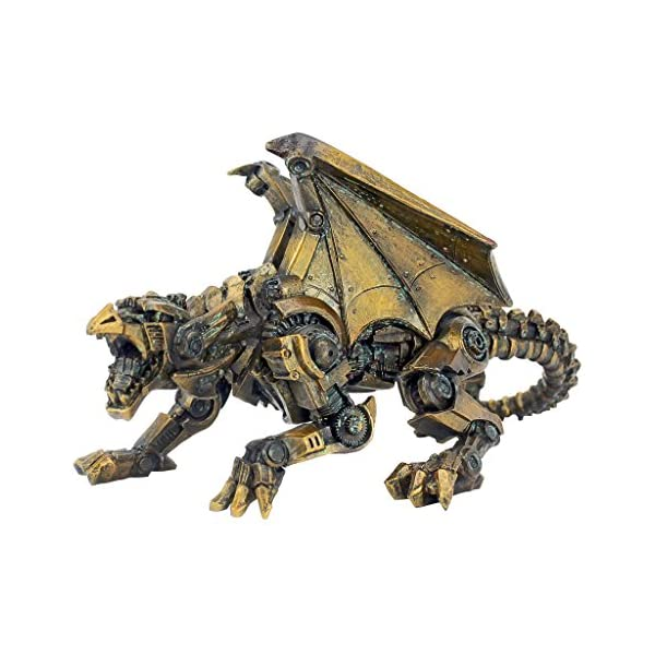 Design Toscano CL6610 Steampunk Gothic Gear Dragon Statue, Bronze 4