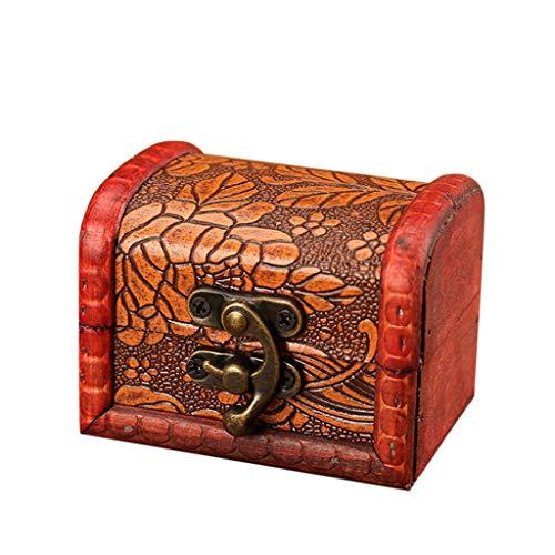 Clearance Sale!DEESEE(TM)2Pcs Jewelry Box Vintage Wood Handmade Box with Mini Metal Lock for Storing Jewe ()