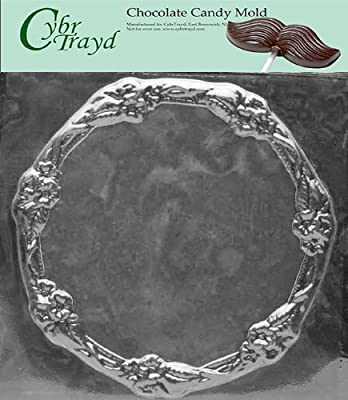 Cybrtrayd Life of the Party D306 Flower Bordered Plate Dish Chocolate Candy Mold in Sealed Protective Poly Bag Imprinted with Copyrighted Cybrtrayd Molding Instructions