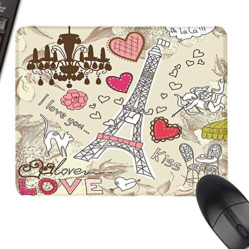 Paris Decor Desk Pad, Office Desk Mat Doodles Illustration of Eiffel Tower Hearts Chandelier Flower Love Valentines Vintage for Computers, Laptop, Office & Home 11.8