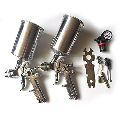 2 Pcs HVLP Air Spray Gun Kit Gravity Feed Automotive Paint Car Primer Detail Basecoat Set - 1.8mm & 1.3mm Nozzle