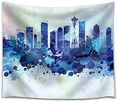 Vibrant Blue Splattered Paint on The City of Seattle