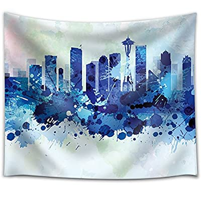 Vibrant Blue Splattered Paint on The City of Seattle, With a Professional Touch, Stunning Artisanship