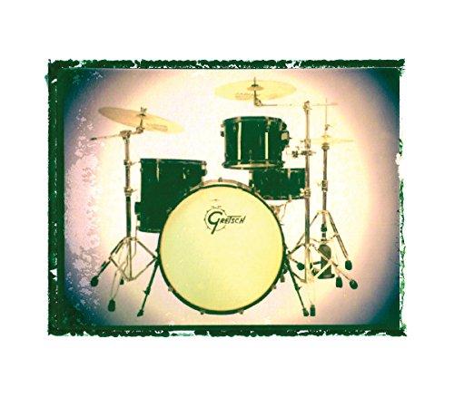 Gretsch drum set 16 x 20 music print drummer Gift Rock n roll art