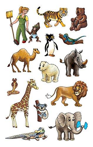 Avery Zweckform 53887 Aufkleber für Kinder, Zoo, Papiermaterial mit Glitzer, 2 Bögen, 28 Sticker