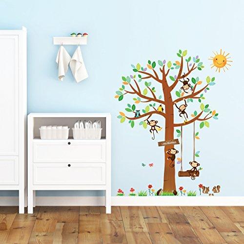 Decowall-DM-1401-5-Little-Monkeys-Tree-Peel-and-Stick-Nursery-Wall-Decals-Stickers
