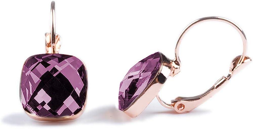 Emma gioielli–pendientes de mujer colgantes con forma de gancho PL. Oro Rosa con cristales Swarovski Elements Cuadrados Viola amatista–Pack de regalo