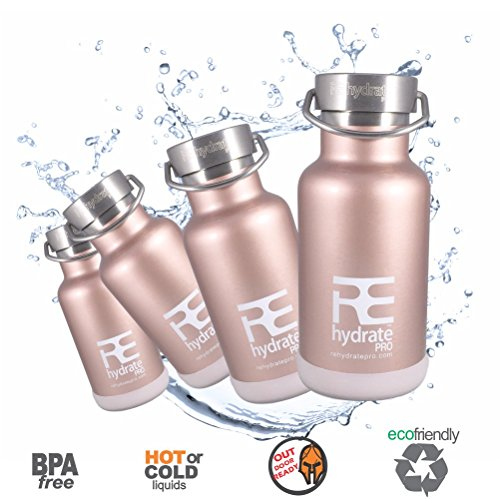 Rehydrate Pro (RoseGld11oz) Junior Kids Insulated Stainless Steel and Environmentally Friendly for Hot or Cold Drinks and Travel. 11.83 Oz / 350ml Hydration Flask Includes Free 'Flip N Sip' Sports Cap