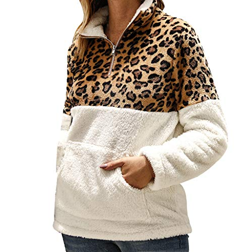 Price comparison product image High Neck Zip Up Blouse for Women,  Outeck Elegant Hoodies Long Sleeves with Pocket Pullover Leopard Top Shirt (S,  White)