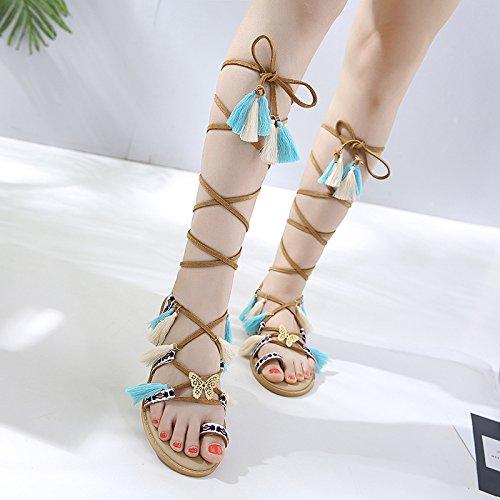 Beige La Scarpe Caviglia Di Bohemia Cinturino Da Spiaggia Sandali Alla Per Estive Donna Frange Con Hope F8ZPwx