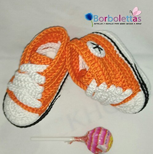 Patucos para Bebé, tipo Converse, 3-6 meses Naranja. Hecho a Mano. Crochet. España: Amazon.es: Handmade
