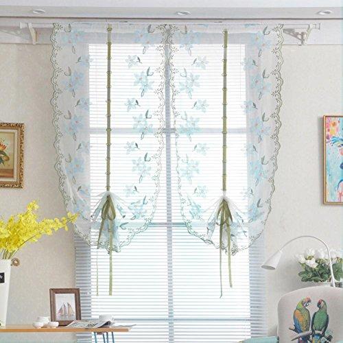 Window Curtain,Voile Door Window Curtain Room Sheer Drape Panel Floral Scarf Sheer Valance new - Custom Drape