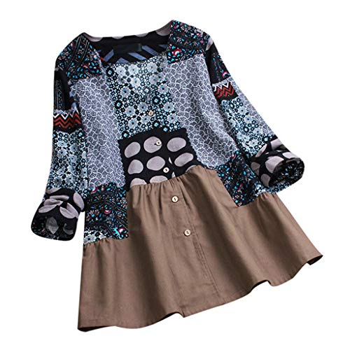 Funic Women Spring Long Sleeve Plus Size Peasant Style Blouse Vintage Floral Print Patchwork Splicing Tops Loose Shirt(Navy,XXL)