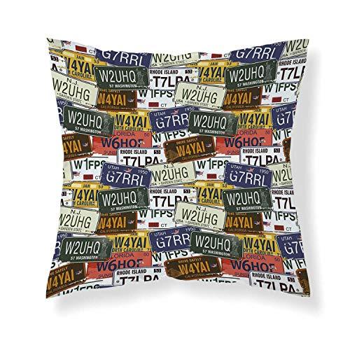 YOLIYANA USA Comfortable Throw Pillow,Retro American Auto License Plates Utah Washington Rhode Island North Carolina Print for Home ()