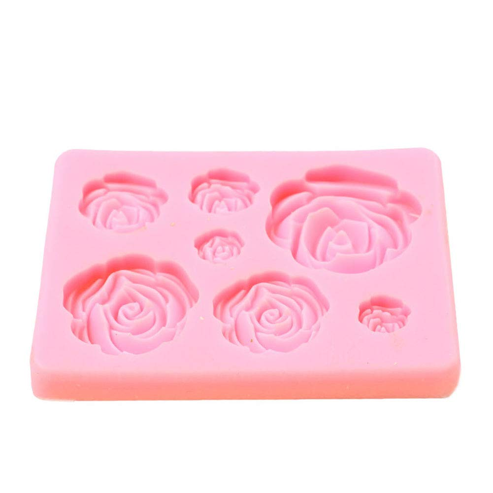 Slendima Lovely Rose Flower Silicone(3.54'' x 2.60'' x 0.39'') DIY Baking Mold,Fondant Cake Chocolate Candy Jelly Sugar Craft Gum paste Decorating Tool - 2 Colors is Available