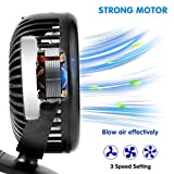 Stroller Fan - Baby Clip on Fan with 3 Speeds - USB and Battery Powered - Easy to Carry in the Provided Bag - 360 Degree Rotation for Baby Stroller Carseat Office Outdoor