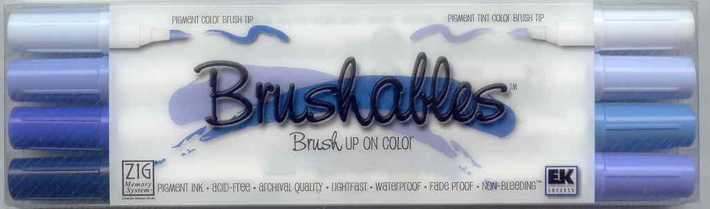 Kuretake Zig Brushables 4 x Brush Marker Pens Blues