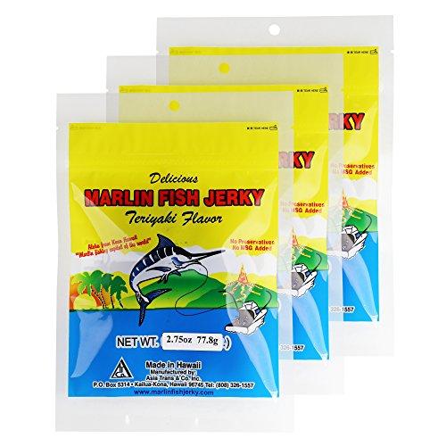 Hawaiian Marlin Fish Jerky Teriyaki Flavor 2.75 oz (3 pack)