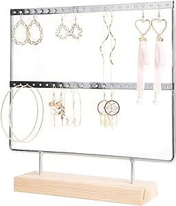 lemonadeus Earrings Organizer Jewelry Display Wood Stand (44 Holes 2 Layers) (Silver)
