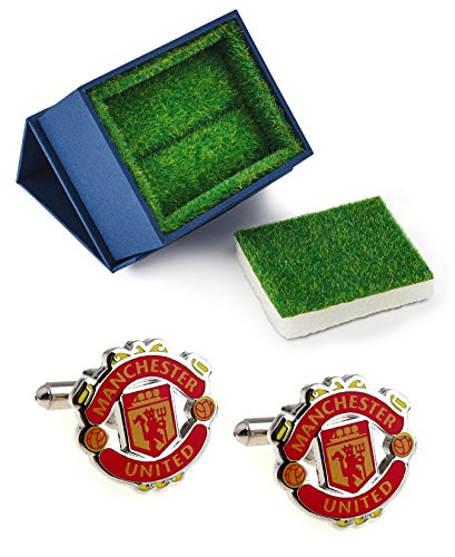 Manchester United F.C. Logo Cufflinks with Grass Like Gift Box - Soccer Football Manchester United Christmas