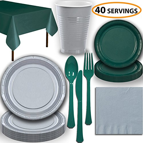 Disposable Party Supplies, Serves 40 - Silver and Hunter Green - Large and Small Paper Plates, 12 oz Plastic Cups, Heavyweight Cutlery, Napkins, and Tablecloths. Full Two-Tone Tableware Set