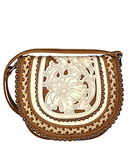 New Montana West Scalloped, Embroidered Small Saddle Bag Crossbody- 4 Choices(Beige)