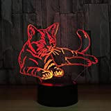 LEDMOMO Delightful Magic 3D Illusion Night Light 7 Colors Remote Control Cat Table Lamp USB Insert Desk Light Christmas Birthday Gift Present Party Decoration