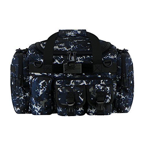 East West U.S.A Tactical Multi Pockets Heavy Duty Duffel Bag, Camo/Navy, 18