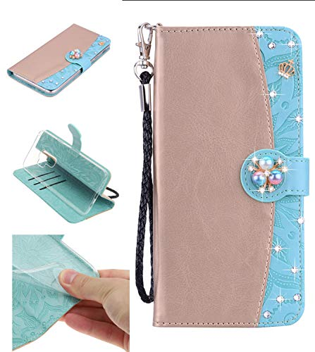 Shinyzone Leather Wallet Case for Samsung Galaxy S9 Plus,Premium PU Embossed Sunflower Pattern with Diamond Pearl Magnetic,Transparent Soft TPU Flip Cover,Gold and Green ()