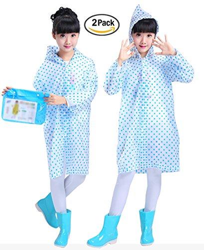 Raincoat Rainwear (Smartown Age 6-14 Kids Dots Style Hooded Rain Poncho Raincoat Cover Long Rainwear Blue for Girls - 2 Pack)