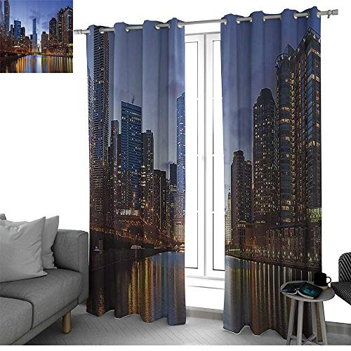 Contemporary Urban Cityscapes Americana Decor Collection Kitchen/Bedroom Window Treatments Home Decoration Chicago Riverside Bridge Scene Modern USA Boho City Prints Curtains for Bedroom