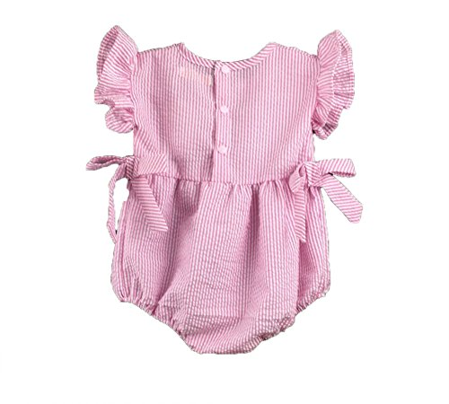 icekon Baby Girls Striped Seersucker Bubble Straps Ruffle Layers Bowknot Rompers Bodysuits (80(6M)) Pink Striped Seersucker