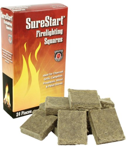 MEECO'S RED DEVIL 418 Firelighting Squares (Pack of 24 - Fire Logs Pit For Starter