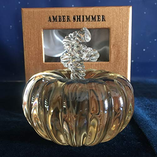 Oleg Cassini Amber Harvest Shimmer Large Crystal Pumpkin 3.75