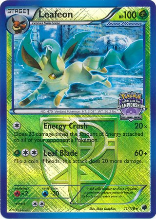 Pokemon - Leafeon (11/116) - Plasma Freeze - Reverse Holo - League Promo (Lv X And Ex Pokemon Cards For Sale)